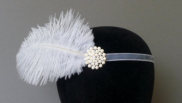 Grey Feather Pearl Flapper Headband Velvet Ribbon