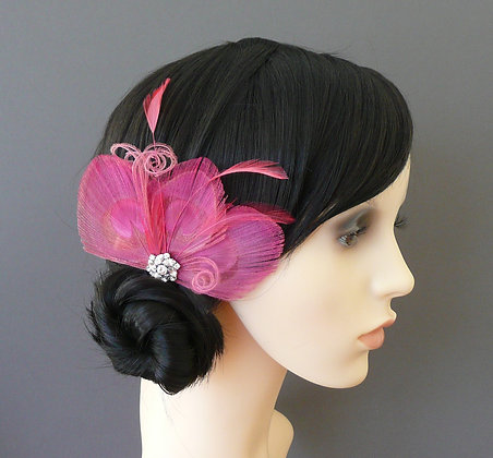 Rose Pink Peacock Feather Hair Clip 'Lizbeth'