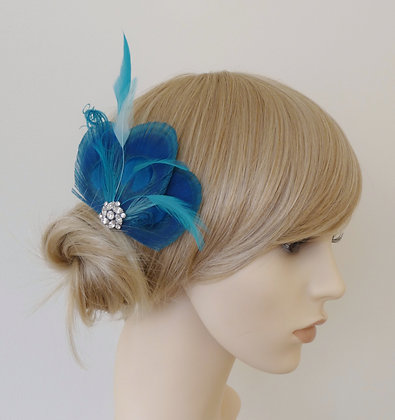 Turquoise Blue Peacock Feather Hair Clip 'Lizbeth'