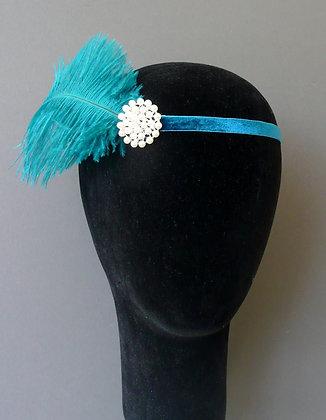 Teal Blue Feather Pearl Flapper Headband Velvet