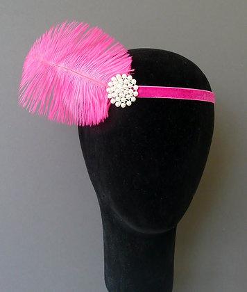Hot Pink Feather Pearl Flapper Headband Velvet