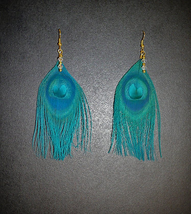 Teal Blue Peacock Feather Earrings Gold Plate Cl
