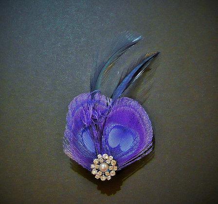 Royal Dark Blue Peacock Feather Hair Clip Lisette