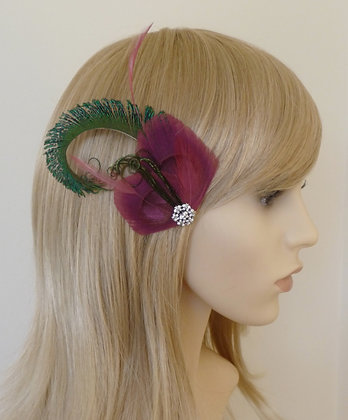 Pink Peacock Feather Hair Clip 'Evelyn'