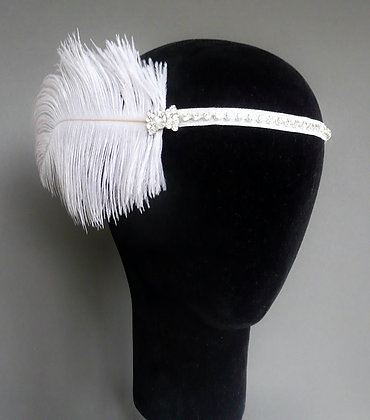 White Crystal Bows Feather Flapper Headband Ribbon