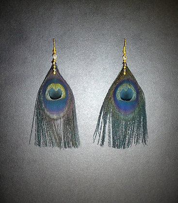 Black Peacock Feather Earrings Gold Plated