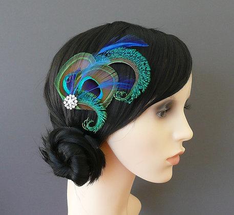 'Althea' Royal Blue Peacock Feather Hair Clip