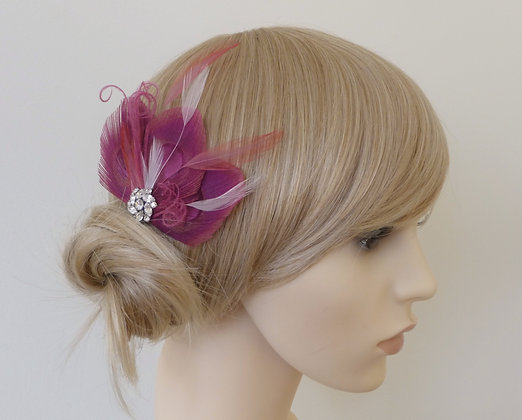 Rich Pink Peacock Feather Hair Clip 'Lizbeth'