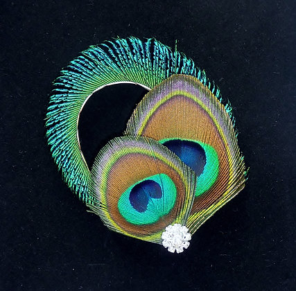 Peacock Feather Curled Blue Hair Clip 'Grace'