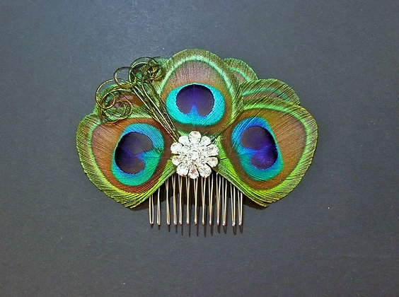 Penelope Peacock Feather Silver Crystal Hair Comb