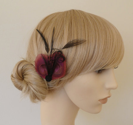 Pink and Black Peacock Feather Hair Clip 'Liv'