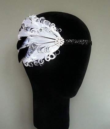 White and Black Flapper Headband Curled Nagoire