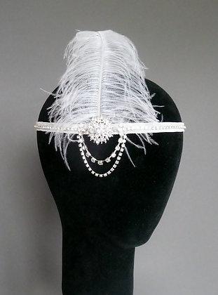 White Feather Crystal Flapper Headband Ribbon