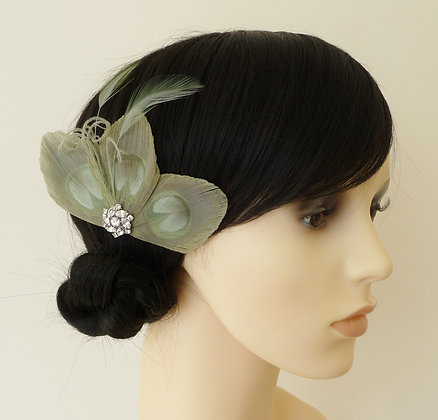 Sage Green Peacock Feather Hair Clip 'Lizbeth'