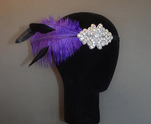 Purple Black Crystal Feather Flapper Headband