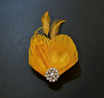 Yellow Peacock Feather Hair Clip 'Lisette'