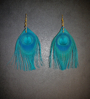 Teal Blue Peacock Feather Earrings Gold Plated