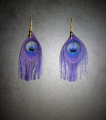 Navy Peacock Feather Earrings Gold Plated