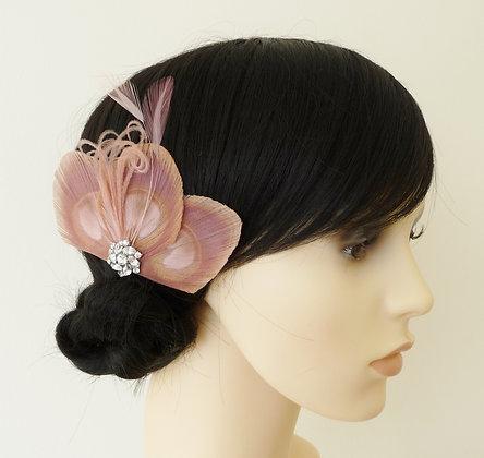 Dusky Pink Peacock Feather Hair Clip 'Lizbeth'