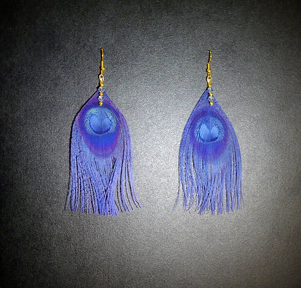 Royal Blue Peacock Feather Earrings Gold Plated