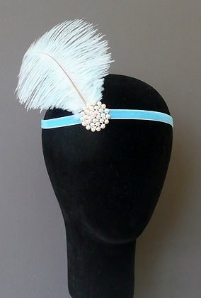 Pale Blue Feather Pearl Flapper Headband Velvet
