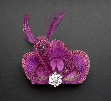 Plum Purple Peacock Feather Hair Clip 'Lizbeth'