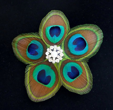 Peacock Feather Flower Blue Hair Clip 'Star Small'
