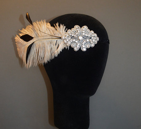 Nude Beige Black Crystal Feather Flapper Headband