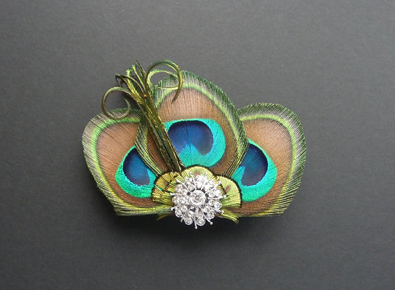 Peacock Feather Trio Crystal Hair Clip 'Paige'