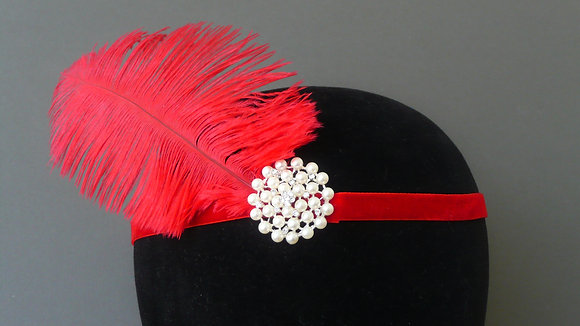 Red Feather Pearl Flapper Headband Velvet Ribbon