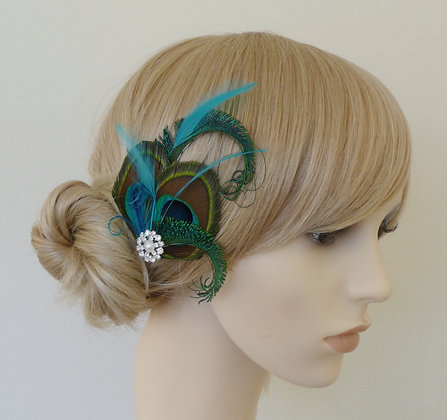 'Althea' Turquoise Blue Peacock Feather Hair Clip