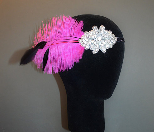 Hot Pink Black Crystal Feather Flapper Headband