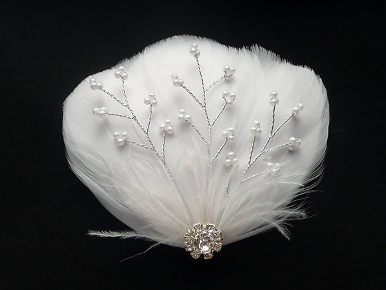 White Feather Hair Clip Pearl Vines and Crystal