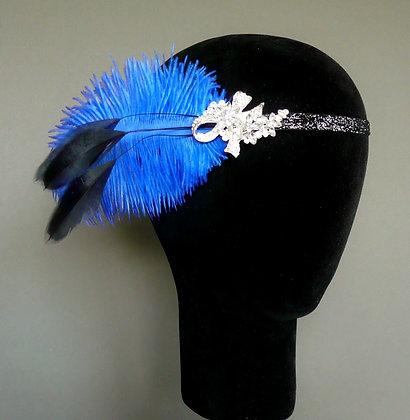 Royal Blue Crystal Feather Flapper Headband Ribbon