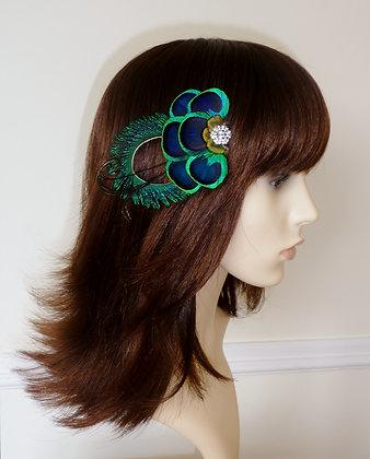 Peacock Feather Turquoise Blue Hair Clip 'Anna'