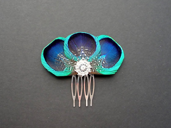 'Tahlia' Peacock Feather Silver Plated Hair Comb