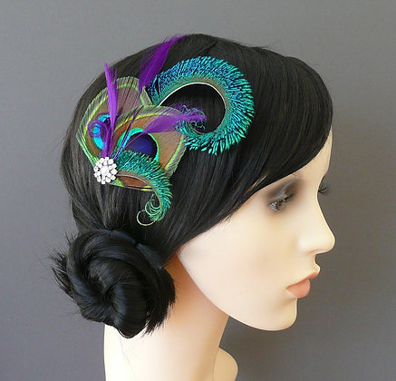 'Althea' Purple Peacock Feather Hair Clip