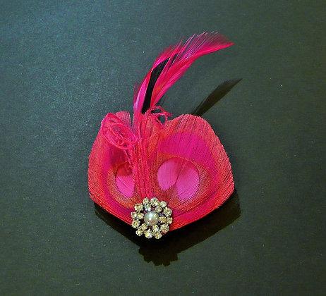 Fuchsia Pink Peacock Feather Hair Clip 'Lisette'