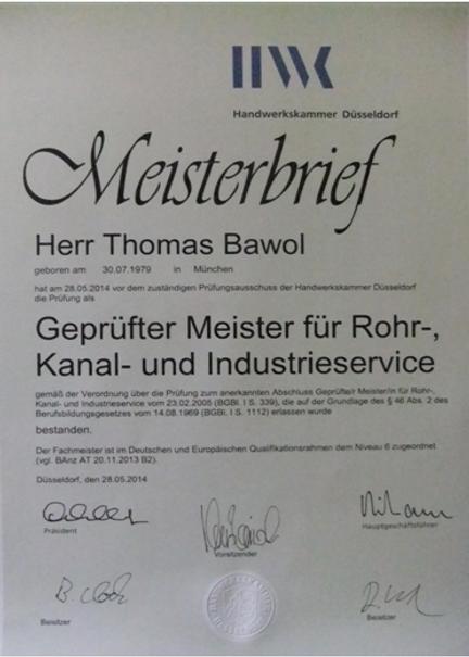 RKI- Meisterbrief Thomas Bawol