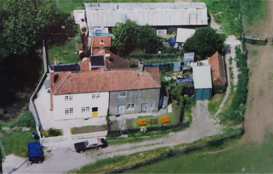 An aerial view of Field Cottage, 1979