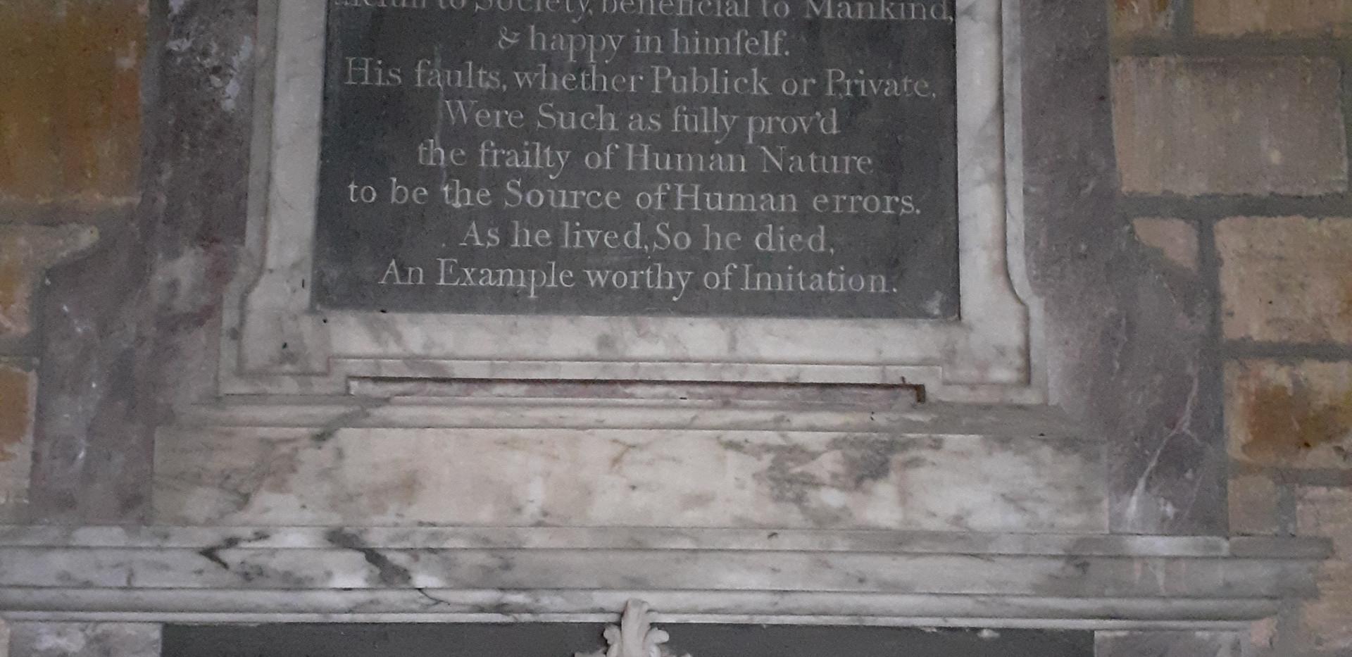 Memorial to Peter Wyche