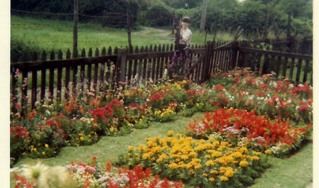 Michael Dann in the front garden of Field Cottage c. mid 1960s