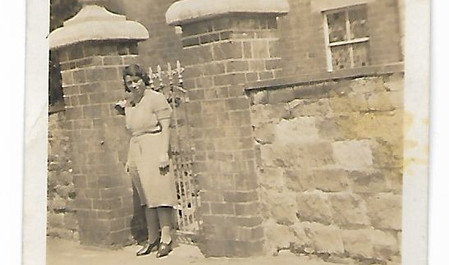 Lucy Casey outside The Manor, 1940s