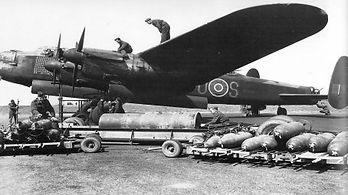 Avro Lancaster Mk 1 being loaded.jpg