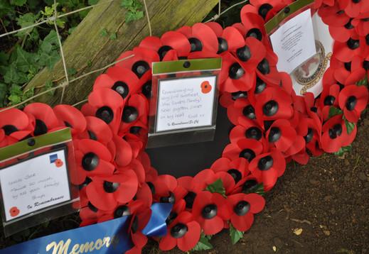 Wreath laid on behalf of Enid, the sweetheart of Rear Gunner Jack Sanders