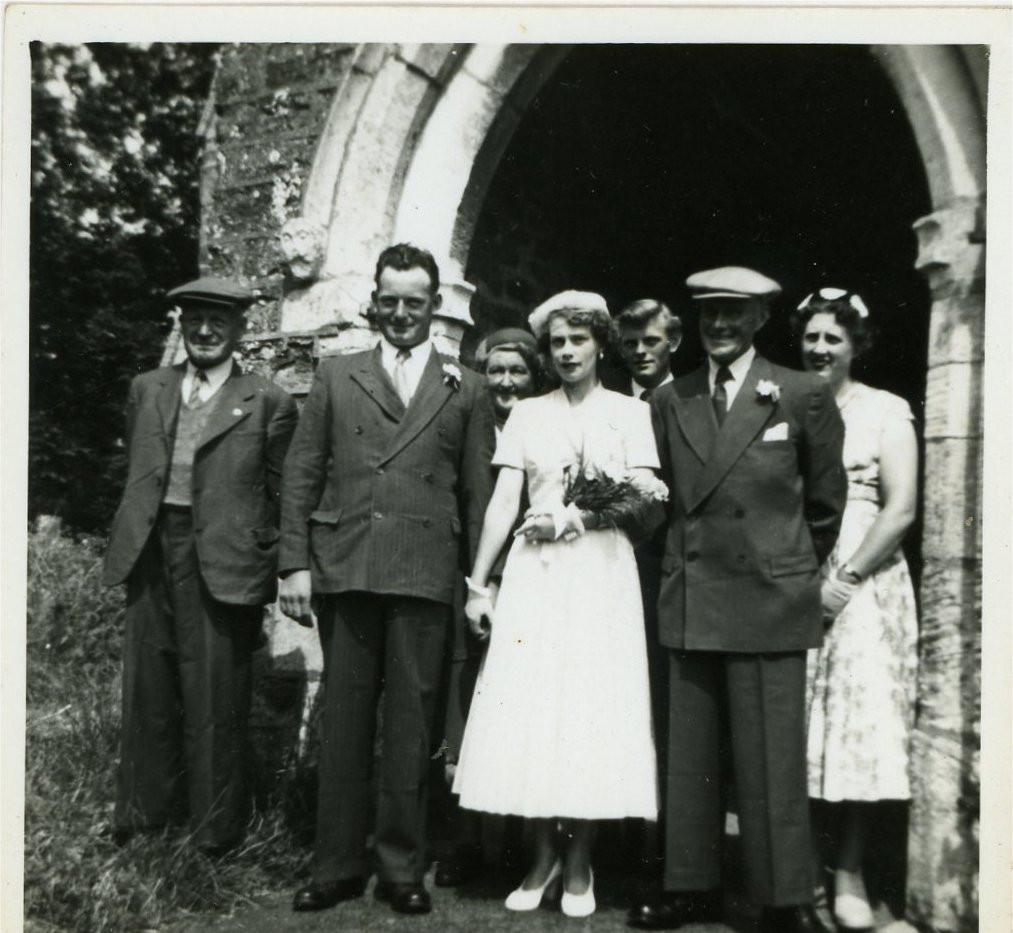 The wedding of Stan Needham and Nancy Talkes 1955