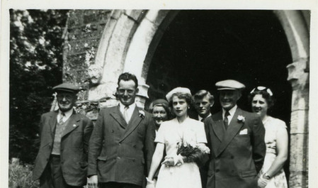 The wedding of Stan Needham and Nancy Talkes 1955
