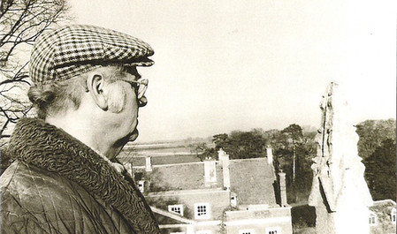 Stan Lawrance at the top of St. Denys' church tower