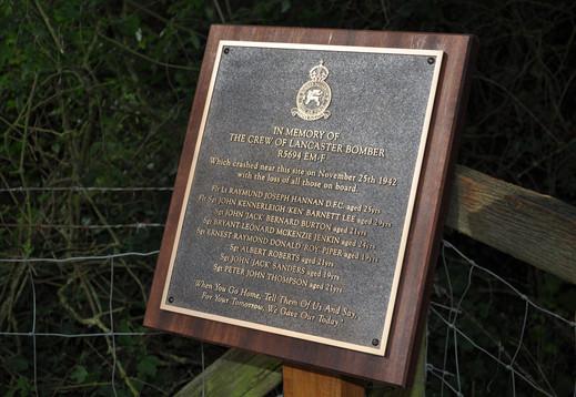 Bronze Memorial Plaque in memory of the crew