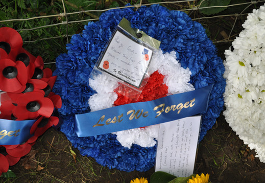 Wreath laid by the family of Navigator Ken Lee